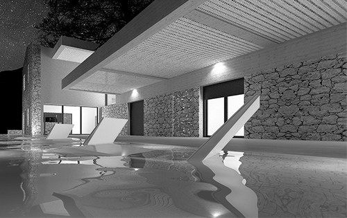 Residence in Gimari Kassiopi Corfu stone house cover photo bw