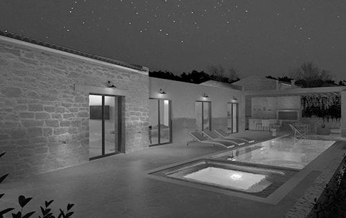 Megalithari Corfu summer villas cover photo bw